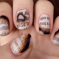Nail Art - Burned Paper Nails